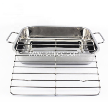 Stainless Steel Cafeteria BBQ Metal Serving Tray Set