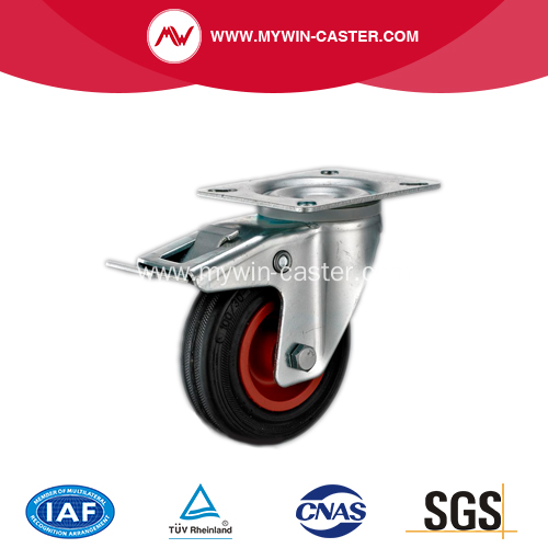 5'' Plate Swivel Rubber PP core With brake Caster