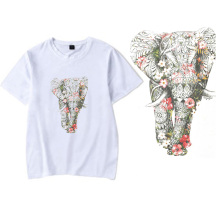 Flowers Elephant Iron on Heat Transfer Printing Patches Stickers for Clothes T-shirt DIY Appliques Washable Patches Wholesale