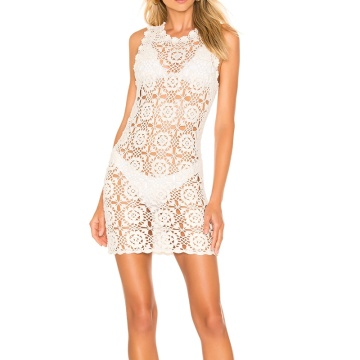 Sleeveless Crochet White Summer Mini Dress Women