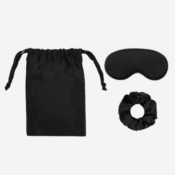 3pcs Silk Travel Set Storage Bag Scrunchy Eyemask