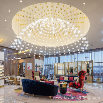Hanging big living room glass led chandelier
