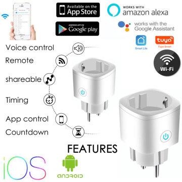5PCS Tuya Wireless WiFi Switch EU Plug Smart Socket Alexa Google Home Power Socket Plug Adaptor Converters Charger Accessories