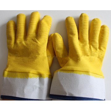 Yellow latex safety cuff gloves with Flannel lining