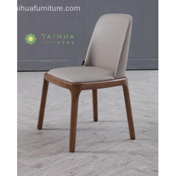 Madilim na Walnut Solid Wood Dining Chair na may Cushion