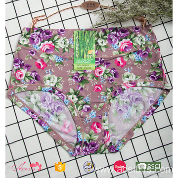 5668 OEM wholesale high rate light purple stylish printed female underwear sexy plus size lace fancy panty
