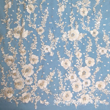 Plum Blossom Embroidery Transapret Sequin Lace Fabric