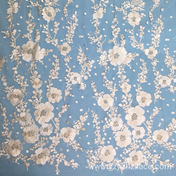 Indwangu ye-Plum Blossom Embroidery Transapret Sequin Lace Fabric