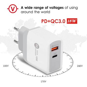 PD 18W Type-C Charger Compatible With QC3.0 Fast Charging USB Mobile Phone Charger For Most Smart Phones Digital Products New