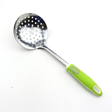 Green Color Handle Stainless Steel Kitchen Skimmer