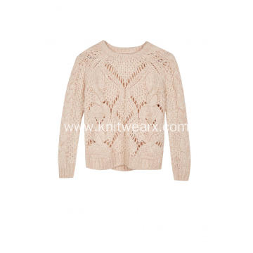 Women's Knitted Cable Pointelle Crew-Neck Chunky Pullover