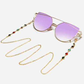 1PC Chic Sunglasses Chain Women Colorful Clear Zircon Rose Gold Color Anti-slip Eyeglass Cord Rope Strap Lanyard for Glasses