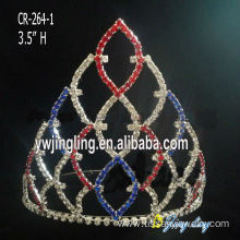 Hair accessories red bule crystal pageant crowns cheap