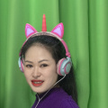 Wired Stereo Unicorn Cat Ear Headphones with Led