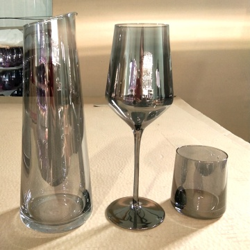 shiny grey color glass carafe wine goblet tumbler
