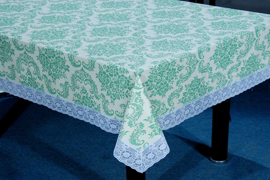 Pvc Flannel Back Table Cloth With 3 Lace 3