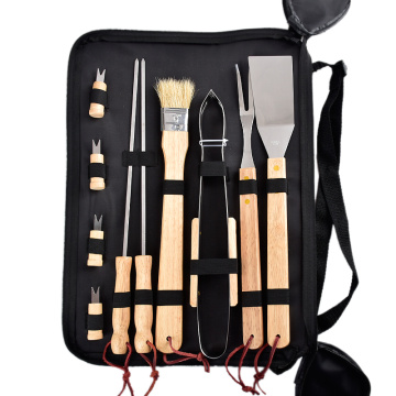 Wood Handle Stainless Steel BBQ Tool Set