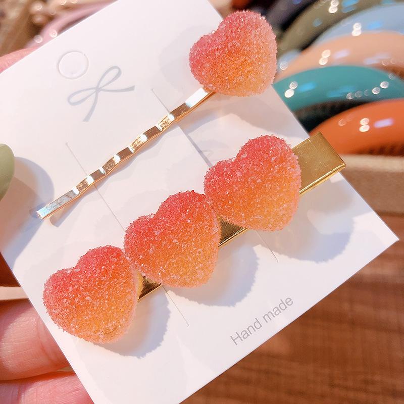 2 Pcs Soft Candy Pure Color Peach Heart Hair Clip Duckbill Clip Set Small Fresh Hairpin Women Hair Accessories