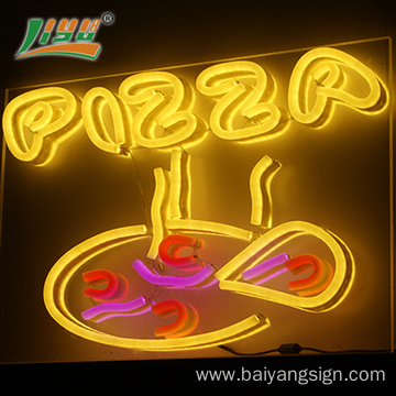 HOT & READY Led round pizza neon sign for shop decoration