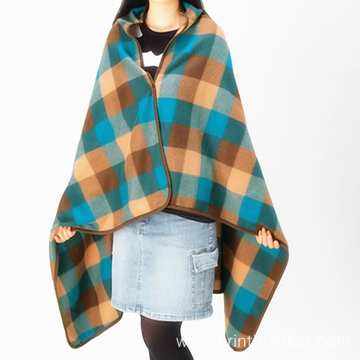 mutle used print polar fleece poncho with hooded