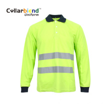 Quick Dry Fluorescent Yellow Long Sleeve Reflective Polo