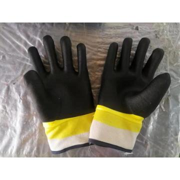Two Colour sandy finish pvc coated gloves
