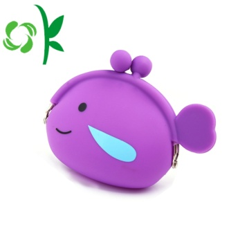 Fish Shape Children Silicone Coin Purse without Zipper