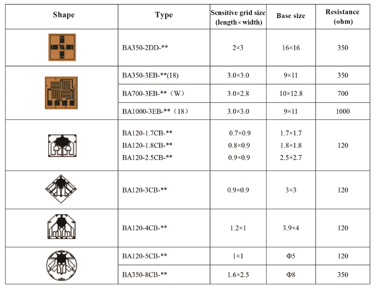 Technical Data of Composite Strain Gauge