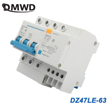 DZ47LE-63 3P 6A 10A 16A 20A 25A 400V 50/60HZ 32A 40A 63A Residual Current Circuit Breaker Over Current Leakage Protection RCBO