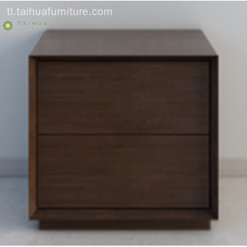 Malalim na Soid Wood Night Stand With Two Drawers