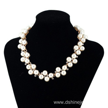Handmade Chain Full Rhinestones Bride Pearl Necklace Jewelry