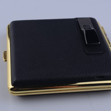 KUIPAI Men PU Leather Metal Cigarette Case Box With USB Charging Lighter For 84mm Cigarette