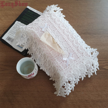 Unique Creative Design Home Household Hotel Table Decorative Embroidered Plaid Elastic Band White Grey Taupe Tissue Box Cover