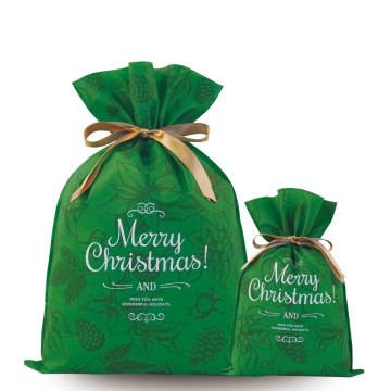 Medium Christmas Plant Printed Drawstring Gift Bags