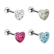 Multi Gem Heart Surgical Steel Tongue Ring
