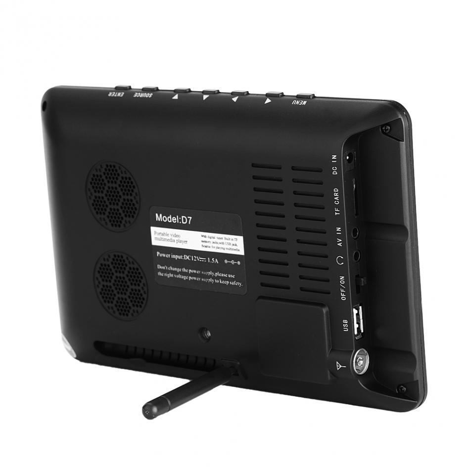 LEADSTAR 7 Inch High Resolution TV Color TFT LED DVB-T-T2 Digital Analog Television 800x480 EU plug 110‑240V Portable TV