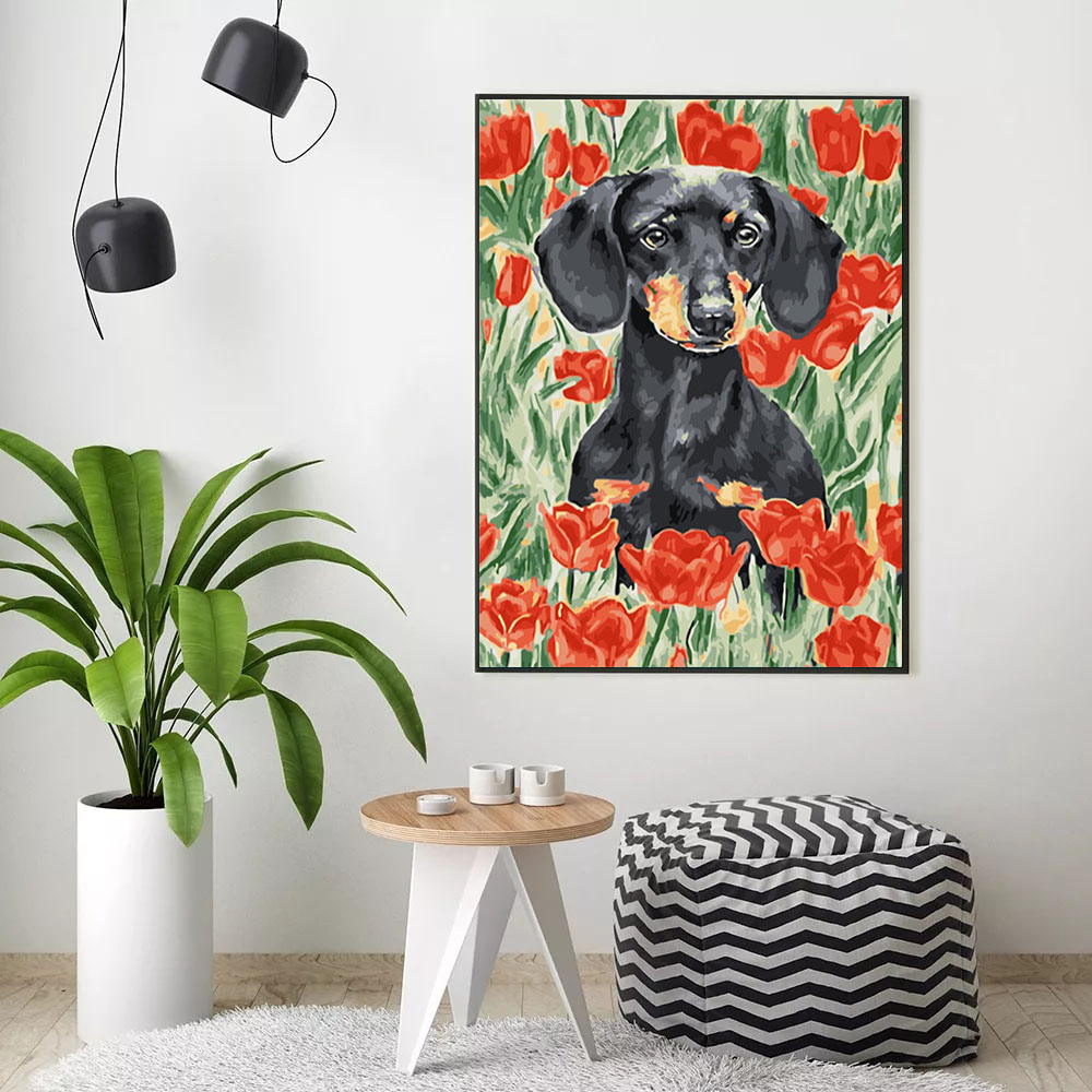 HUACAN Pictures By Numbers Animals DIY Hand Painted Wall Art For Adults Oil Painting By Numbers Flower Dog Gift Home Decor