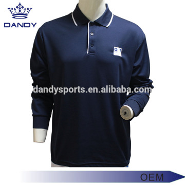 Rib-Kintted Collar Navy Blue Polo Shirt