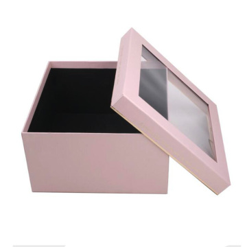 Transparent packaging box clear lid with window