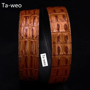 (No Buckle, Only Belt) Fashion High Quality Leather & PU Belts, Crocodile Bone Striped Pattern, Men's Belts Luxury