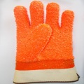Fluorescent Orange PVC Glove.Rubber Dots on the Palm