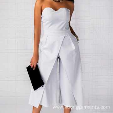 Women Office Loose Wide Leg Pants Jumpsuits