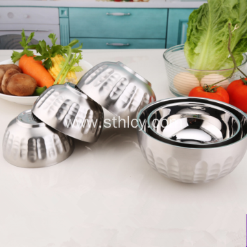 Round Durable Salad Mixing Stainless Steel Rice Bowl