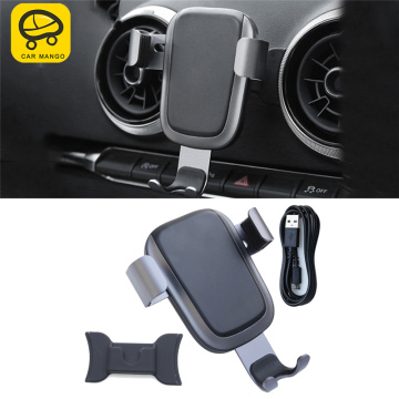 CARMANGO for Audi A3 2017-2019 Car Phone Holder Wireless Charging Mount Stand Mobile Gravity Smartphone Cellphone Support