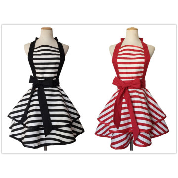 100% cotton black and white striped apron