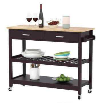 Black 2 shelves Kitchen Trolley Dimensions Pictures