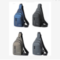 Mens Fashion Multifunctional Waterproof PU Chest Bag