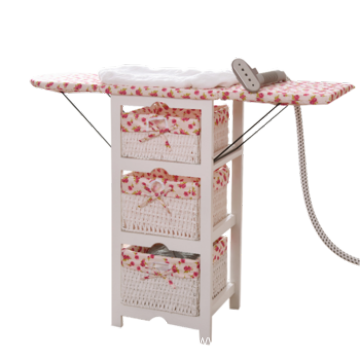 Foldable Ironing Board Solid Wood Cabinet Folding Top Center Rattan Storage Basket
