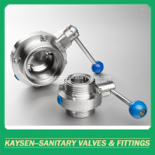 ISO/IDF Sanitary thread butterfly valve with handle