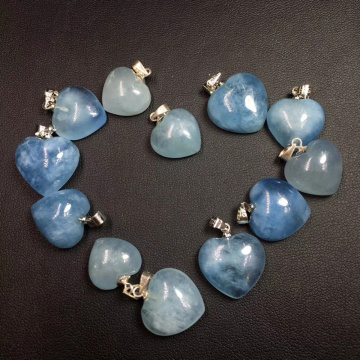 Natural Aquamarine Heart Pendant Neckalce For Woman S925 Silver Quartz Crystal Luxury Neckalce Healing Crystal Charm Jewelry